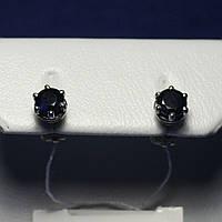 Красивые серебряные сережки с сапфиром (гвоздики) Лея 5 2091/9р