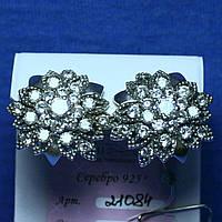Женские большие серебряные серьги Цветы с фианитами 21084