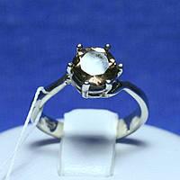 Женское серебряное кольцо с раухтопазом родированное R33 топ