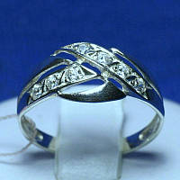 Красивое кольцо из серебра с камнями родированное кс 330