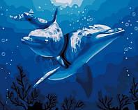 """Алмазная мозаика """"Дельфины"""", картина стразами 40*30см"""