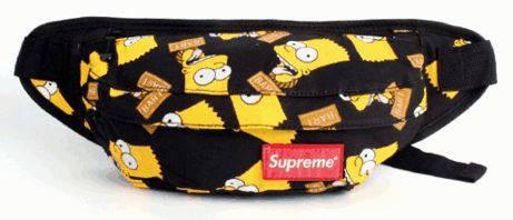 Молодежная спортивная сумка на пояс Supreme 115, черный в симпсоны
