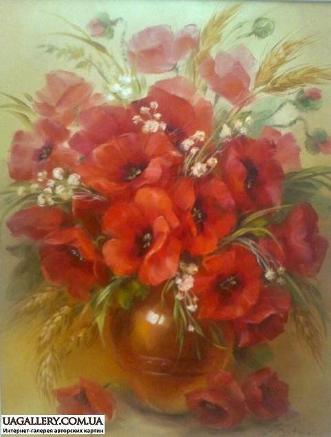 Цветы из ленты маки