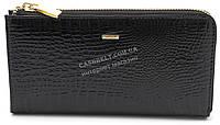 Стильный оригинальный кожаный лаковый женский клатч бумажник черного цвета H.Verde art.2596-67