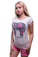 Модная женская футболка. Этно Слон