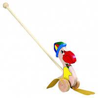 Каталка Пеликан в шляпе Деревянные развивающие игрушки