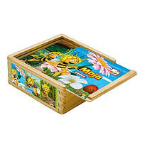 Кубики из дерева Пчелка Майя, 9 дет. Деревянные развивающие игрушки