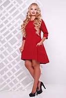 Модное женское трикотажное платье Милана бордо(48-56), фото 1