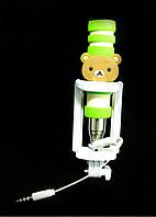 Монопод палка для селфи Mini Monopod Барни + кнопка через 3,5 Зеленый