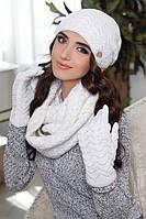 Комплект шапка, шарф и перчатки белый 4302-38