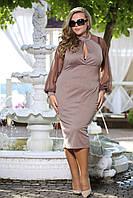 Платье Парфюм капучино с рукавами сетка и вырезом на груди большого размера 48-72 батал