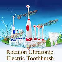 Вращение водонепроницаемый ультразвуковой электрическая зубная щетка 3шт замена головка щетки