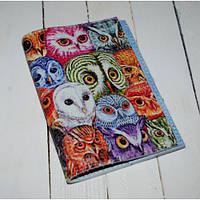 Кожаная женская обложка для паспорта -Цветные совы-