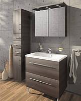 Мебельный комплект в ванную от производителя Буль-буль Goa 80 (тумба с умывальником, зеркальный шкаф, пенал)