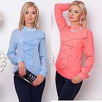 Шифонова блуза свободного кроя с кокилье и воротником стойкой