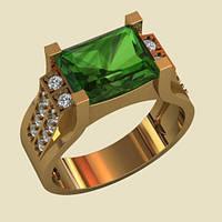 Заметное женское золотое кольцо прямоугольной формы с крупной вставкой