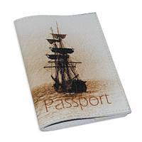 Кожаная обложка для паспорта/загранпаспорта -Кораблик-