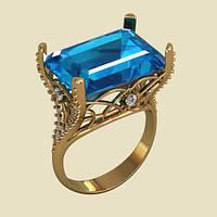 Заметное женское кольцо из золота 585* с акцентом на камень