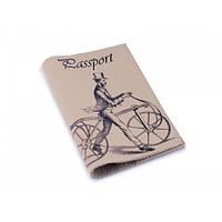 Мужская обложка для паспорта -Джентльмен на велосипеде-