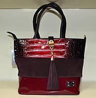 """Женская сумка  с кисточкой  """"Valetta """" осенняя бордо"""