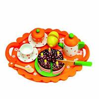 Чайный сервиз с тортом на подносе Деревянные развивающие игрушки