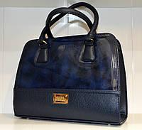 Синяя лаковая женская сумочка