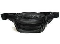 Поясная сумка 80-50411 бананка черная кожвинил