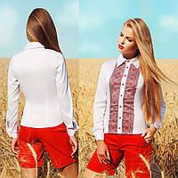Женская белая рубашка с украинским орнаментом