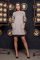 Кашемировое платье свободного кроя серо-черное