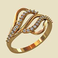 Оригинальное золотое кольцо 585* с кубическим цирконием