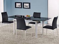 Кухонный стол раскладной Halmar Alston с черной стеклянной столешницей