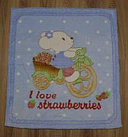 """Детский махровый плед-одеяло """"Мышонок"""" для малышей (голубой)"""