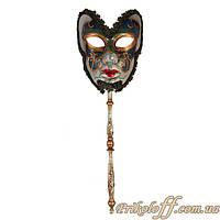 Венецианская маска с ручкой, тёмная