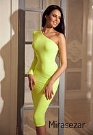 Приталенное платье миди  на одно плечо