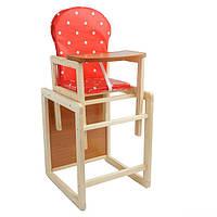 Детский стул трансформер для кормления красный в горошек