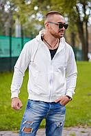 Мужская стильная белая кофта на молнии с капюшоном
