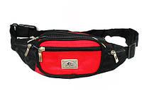 Мужская поясная сумка 85-50414 барыжка черная с красным из полиэстера