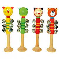 Музыкальная погремушка, животные, 9 звоночков Деревянные развивающие игрушки