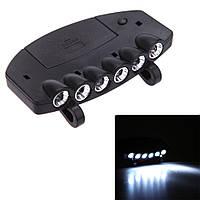 6 LED Clip-На Освещение Клип Hat Cap Лампа Портативный Наружного Освещения для Ночной Рыбалки Походы Кемпинг Г