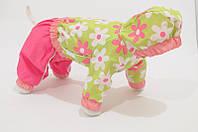 "Дождевик ""Ромашки"" Vip Doggy (девочка) с капюшоном размер М  , фото 1"