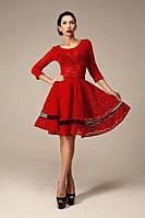 Гипюровое платье миди с прозрачной вставкой на расклешенной юбке
