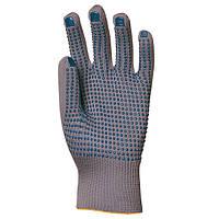 Перчатки трикотажные, нейлон с  ПВХ точкой на ладони. Размер 9