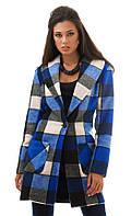 Пальто женское клетка на пуговице, фото 1