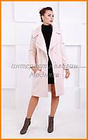 Женское осенее-весеннее пальто в розовом цвете