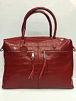 Женская сумка Galanty 1863 большая красная из натуральной кожи