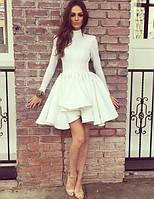 Платье  миди с воротником-стойкой и пышной асимметричной юбкой