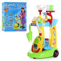 Игровой набор для уборки Family Set XS 08066, пылесос, «гранулы грязи», тележка, свет, звук