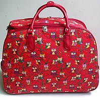 Дорожная сумка на колесах, среднего размера, тканевая, красная сова.