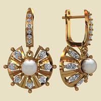 Приметные золотые сережки 585* с крупным жемчугом и фианитами