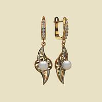 Золотые сережки 585* с крупным жемчугом